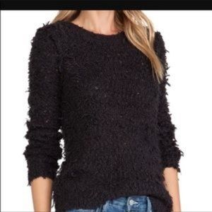 Free people black fuzzy knit sweater-size large